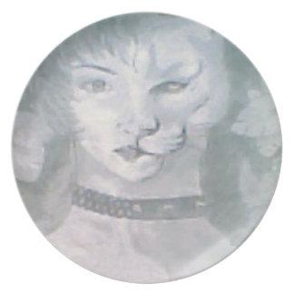 Plato Mujer del gato