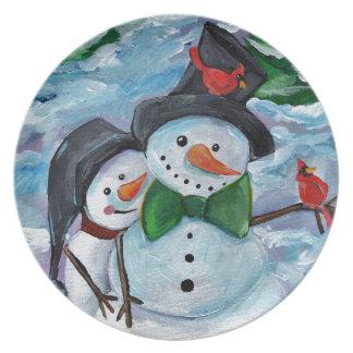 Plato Muñecos de nieve que visitan cardinales
