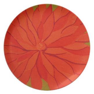 Plato naranja floral