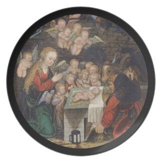 Plato Natividad que ofrece querubes