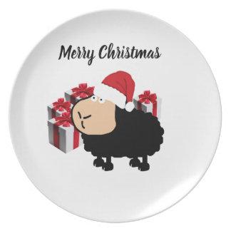 Plato Navidad lindo divertido de las ovejas del dibujo