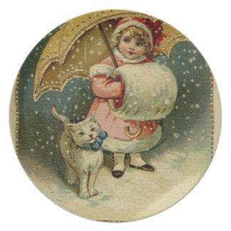 Plato Navidad retro del niño y del gato del vintage del