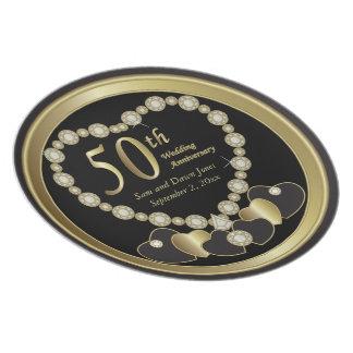 Plato Negro elegante y aniversario de oro del oro 50.o