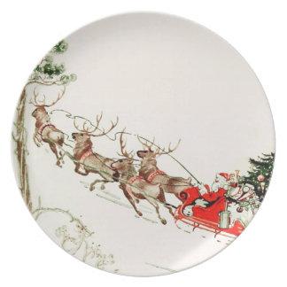 Plato Nochebuena del trineo del reno de Papá Noel del