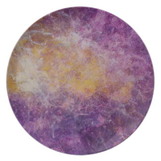 Plato Nube amarilla y púrpura abstracta, diseño colorido