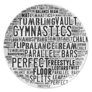 Plato Nube de la palabra de la gimnasia que cae