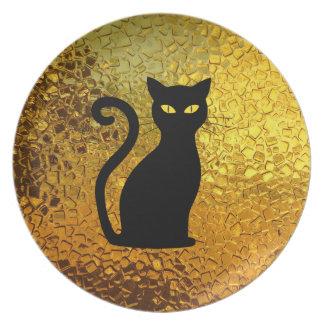 Plato Ojos de gato modernos de la textura de cristal del