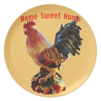 Plato Oro dulce casero del gallo de la granja casera