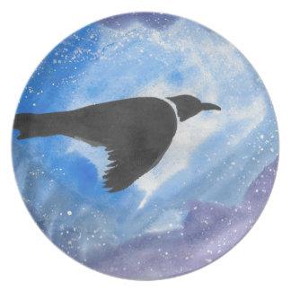 Plato Pájaro en la noche