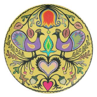 Plato Pájaro y placa floral de la melamina del arte
