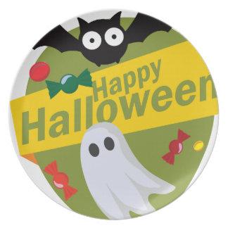 Plato Palos y fantasmas del feliz Halloween
