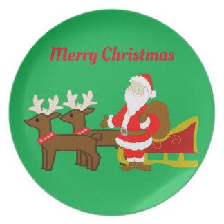 Plato Papá Noel en el trineo del navidad