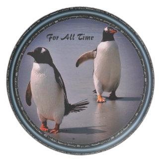 Plato Para toda la placa de colección del pingüino del