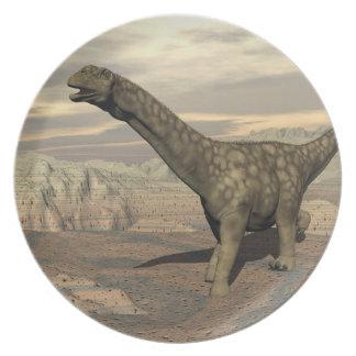 Plato Paseo del dinosaurio del Argentinosaurus - 3D