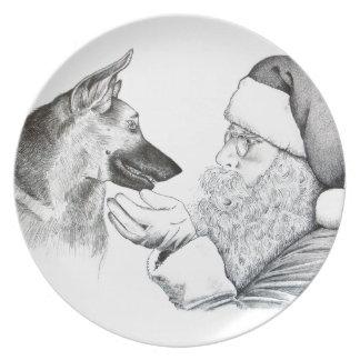 Plato Pastor alemán y Santa