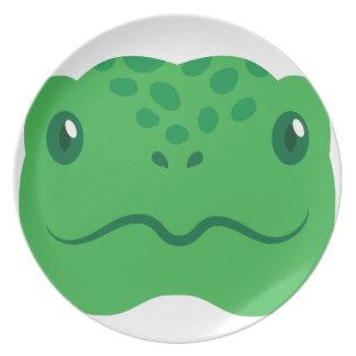 Plato pequeña cara linda de la tortuga de la tortuga