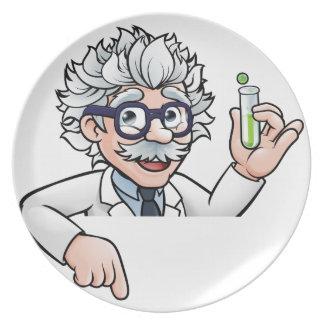 Plato Personaje de dibujos animados del científico que
