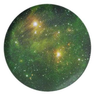 Plato Placa 6 del espacio - nebulosa verde