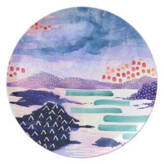 Plato Placa abstracta colorida de la pintura de paisaje