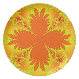 Plato Placa anaranjada de la melamina de las frondas de
