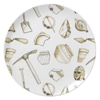 Plato Placa arqueológica de la melamina de los