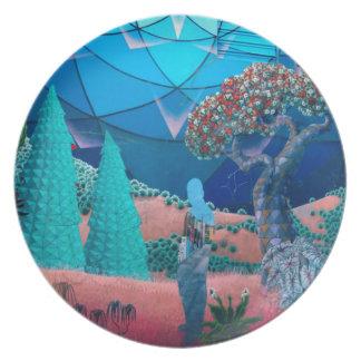 Plato Placa azul del paisaje
