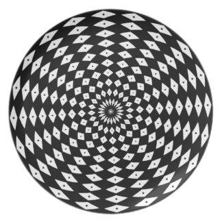 Plato Placa blanco y negro fresca
