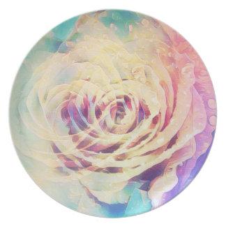 Plato Placa color de rosa en colores pastel de la