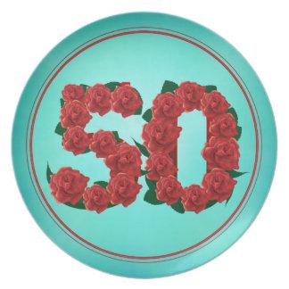 Plato placa de 50 del número del cumpleaños rosas del
