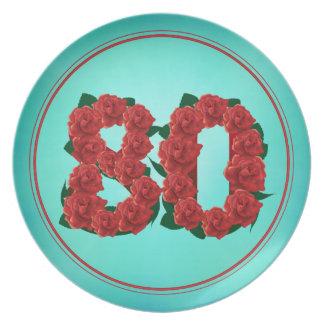 Plato placa de 80 del número del cumpleaños rosas del