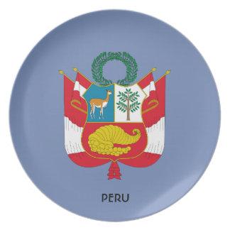 Plato Placa de colectores del escudo de armas de Perú