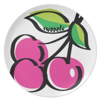 Plato Placa de la melamina de Swoozle de la cereza