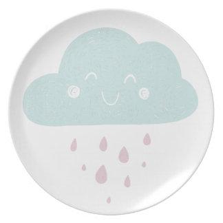 Plato Placa de la melamina del diseño de la nube para