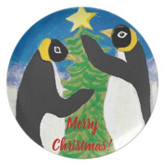 Plato Placa de la melamina del navidad del pingüino