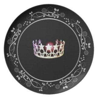 Plato Placa de plata de la corona de la Srta. los