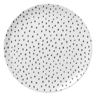 Plato Placa de punto monocromática blanco y negro del