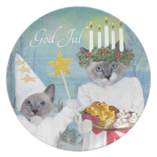 Plato Placa de Santa Lucía de los gatitos