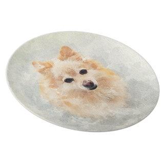 Plato ¡Placa del amante de Pomeranian! Perro de