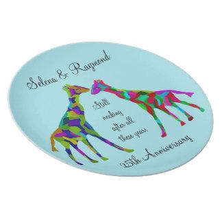 Plato Placa del aniversario de Luv de la jirafa 25ta