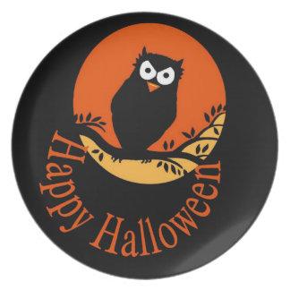 Plato Placa del búho del feliz Halloween