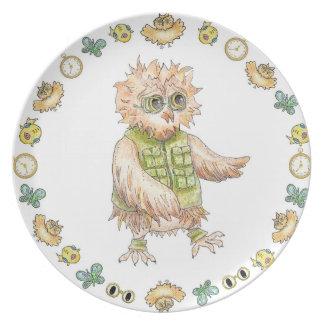 Plato Placa del cumpleaños de la melamina del búho de