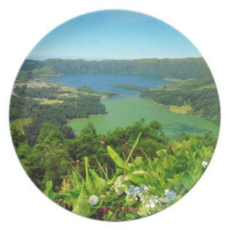 Plato Placa del panorama de Sete Cidades Azores