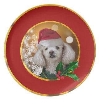 Plato Placa del perro de caniche del navidad