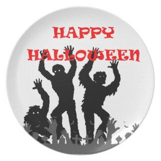 Plato Placa drooling del zombi de Halloween