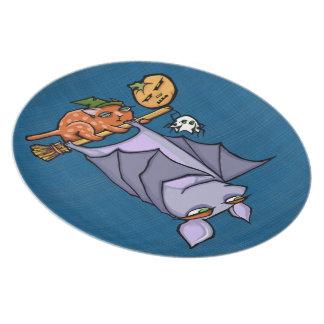 Plato Placa malhumorada de la melamina de Halloween del