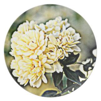 """Plato Placa """"racimos de la melamina de flor del amarillo"""