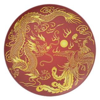 Plato Placa roja del vintage del oro de Phoenix del