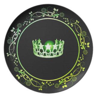Plato Placa verde de la corona de la Srta. los E.E.U.U.