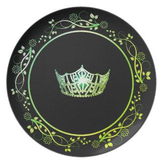 Plato Placa verde de la corona de Srta. América con la