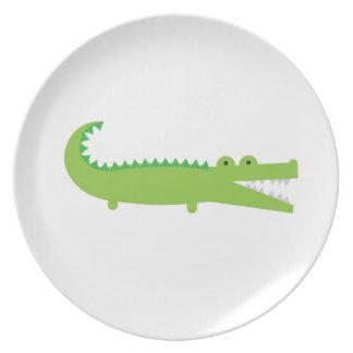 Plato Placa verde linda de la melamina del cocodrilo